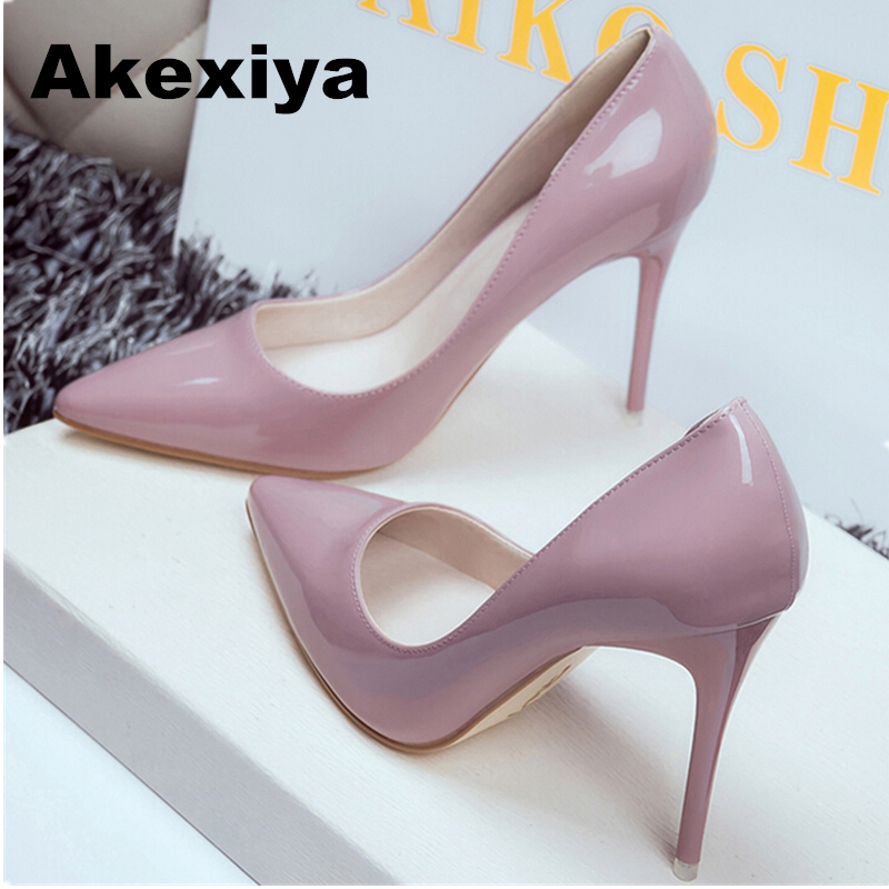 Akexiya 2017 Women Shoes Pointed Toe Pumps Patent Leather Dress Shoes High Heels Boat Shoes Wedding Shoes Zapatos Mujer 10cm/7cm 2017 new spring summer shoes for women high heeled wedding pointed toe fashion women s pumps ladies zapatos mujer high heels 9cm