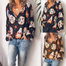 fce63b021 Women Blouses 2019 Spring Summer Fashion Chiffon Long Sleeve Sexy V-neck Skull  Print Casual Plus size Ladies Tops Shirts 2 Color