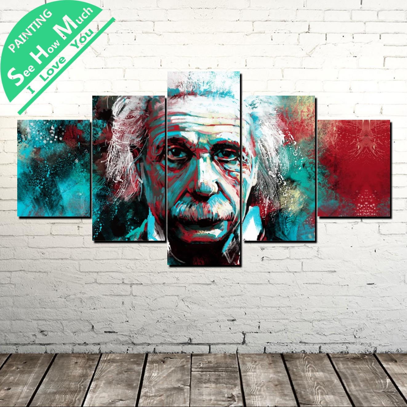 5 Piece Albert Einstein  Modern Artwork Wall Art Canvas Poster and Print Painting Decorative Picture Home Decor