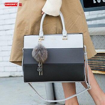 Γυναικεία δερμάτινη τσάντα ώμου 14 ιντσών φορητός χαρτοφύλακας