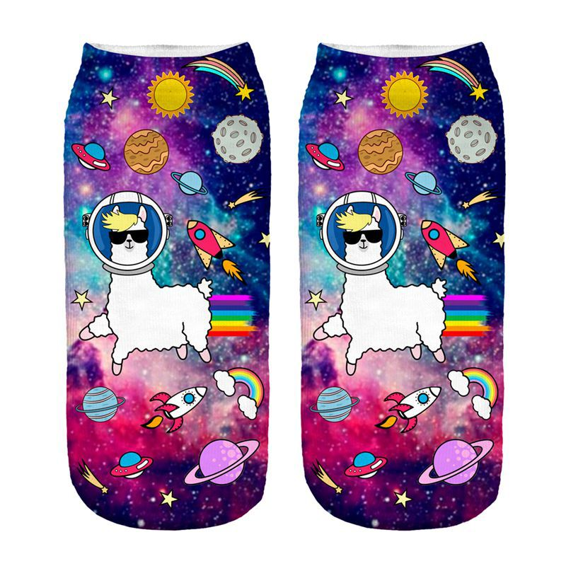 Outer Space Llama New Hot Women Hosiery Printing Socks Girl Funny Meias Low Cut Ankle Sock Calcetines Christmas Gift Socks