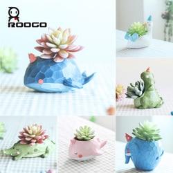 Roogo polirezin cartoon animal shape bonsai small flowerpot succulent plant pots for courtyard/balcony decoration flowerpot