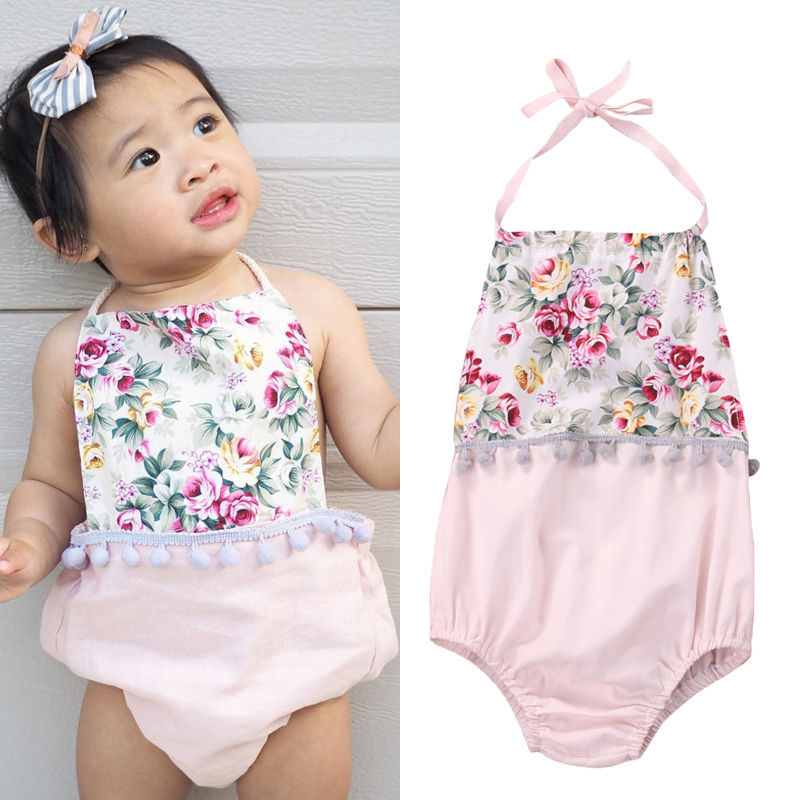 Toddler Kids Baby Girls Floral Bodysuit Summer Sleeveless Gallus Bodysuit Jumpsuit Outfits Cute Baby Clothing