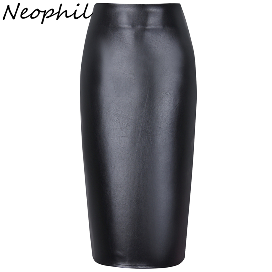 Neophil New 2018 Summer Sexy Patent Leather Pu High Waist Midi Pencil Women Skirts Elastic Office Ladies Slim Bodycon Saia S0307