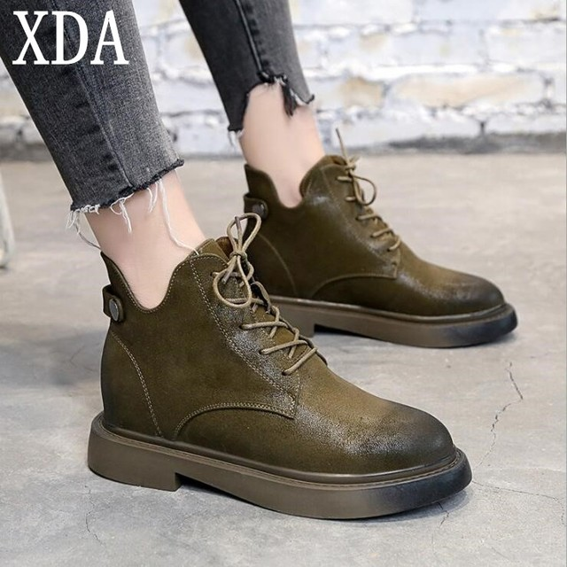 9f55a8418d15 XDA 2018 High Quality shoes Fashion Women Boots Round Toe PU Warm boots  Lace-up Black Green low heel ankle boots Women Boot W866