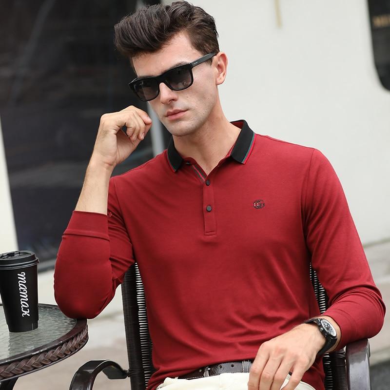 Neue Langarm Polos Männer T-shirts Männlichen Baumwolle Tops Business Casual Revers Plain Bestickte Herren Polos Extrem Effizient In Der WäRmeerhaltung