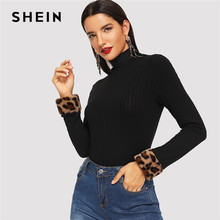 SHEIN Black Elegant Leopard Print Fur Cuff Slim Fitted High Neck Long Sleeve Workwear Tee Autumn Casual Women Tshirt And Top(China)