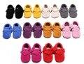 2016 Весной Новый Красный Замша Натуральная Кожа Новорожденного Ребенка Мокасины бахрома Лук Мягкой Подошвой Детские Дети Малышей Девочки Мальчики Bebe обувь