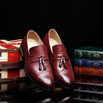brown Couro 2018 Novos De Masculinos Sapatos Vento Moda red Único Vestido Homens Casuais Retro Apontou Britânica Pés Black Dos Macio UUqRgB