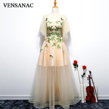 VENSANAC 2018 A Line V Neck Flowers Backless Long Evening Dresses Party Lace Appliques Half Sleeve Prom Gowns