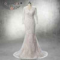 Stunning V Neck Long Sleeves Lace Mermaid Wedding Dress Ivory Over Champagne V Back Wedding Dresses