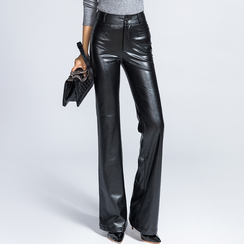 New Design Women High Waist Fashion PU Leather   Wide     Leg     Pants   Straight Long Trousers Female Leisure Velvet Black   Pants
