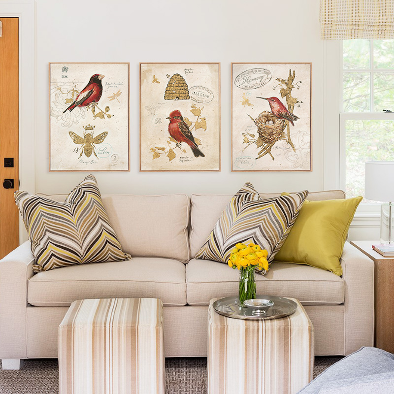 bird vintage art prints canvas painting wall pictures for living room home no frame