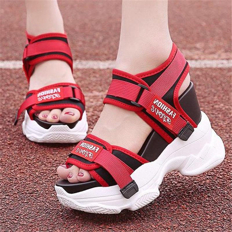 NAYIDUYUN Summer Tennis Shoes Women Leather Platform Wedges High Heel Gladiator Sandals Rhinestone Sneakers Trainers Shoes