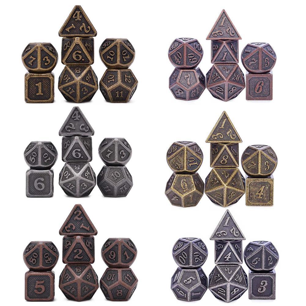 Metal Dice D4 D6 D8 D10 D % D12 D20 7 pçs/set para Dungeons And Dragons RPG Jogos de Tabuleiro MTG (Cobre antigo, ouro, Prata)