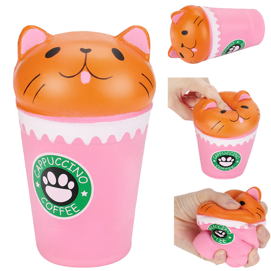 Super Pink cup cat Scented Squishy Slow Rising Squeeze Strap stress reliever Toys Gift 8*8*13cm Dropshipping May#5