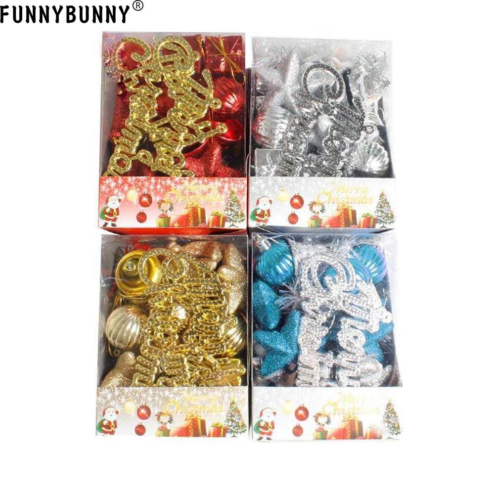 FUNNYBUNNY 28pcs/set Christmas Ornaments Balls Drums Bells Baubles Xmas Tree Pendant decoration