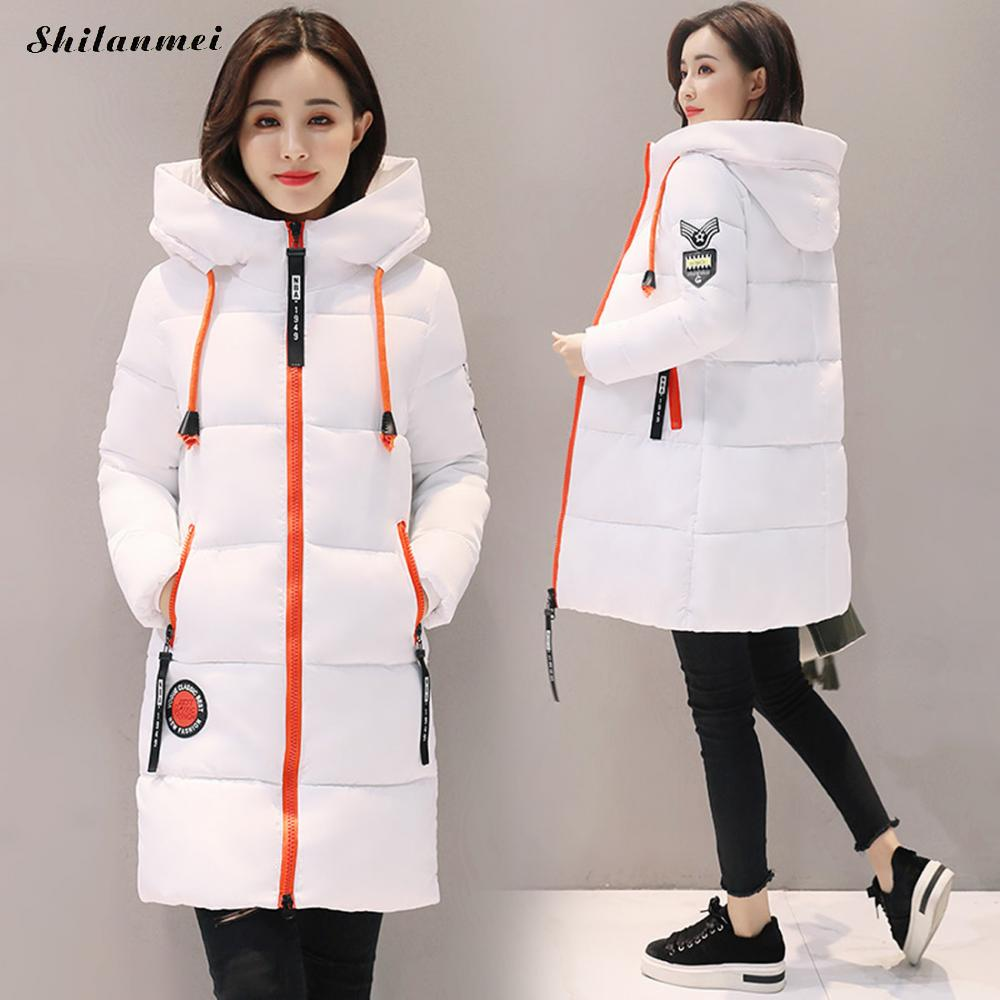 2018 New Winter Jacket Female Parka   Coat   Long   Down   Jacket Plus Size XXXL Black White Long Hooded Duck   Down     Coat   Jacket Women
