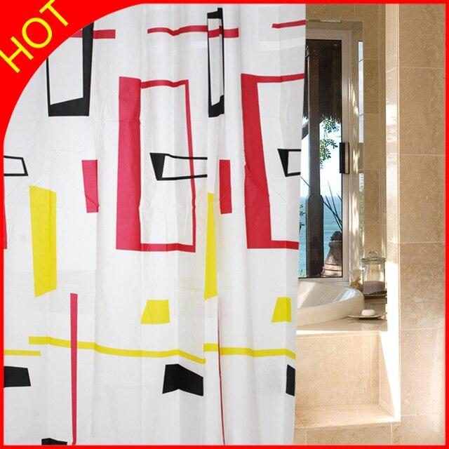 design printed plaid peva waterproof shower curtain modern cortina banheiro bathroom window curtains with plastic hooks