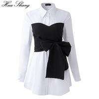 Korean Fashion Blouse 2017 Spring Autumn Women Long Sleeve White Shirt Black Lace Up Bow Tie