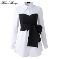 Korean Fashion Blouse 2017 Spring Autumn Women Long Sleeve White Shirt Black Lace Up Bow Tie