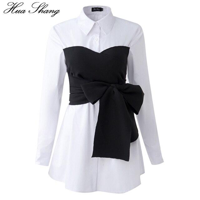 韓国ファッションブラウス 2017 春秋の女性長袖白シャツ黒レースアップ蝶ネクタイエレガント