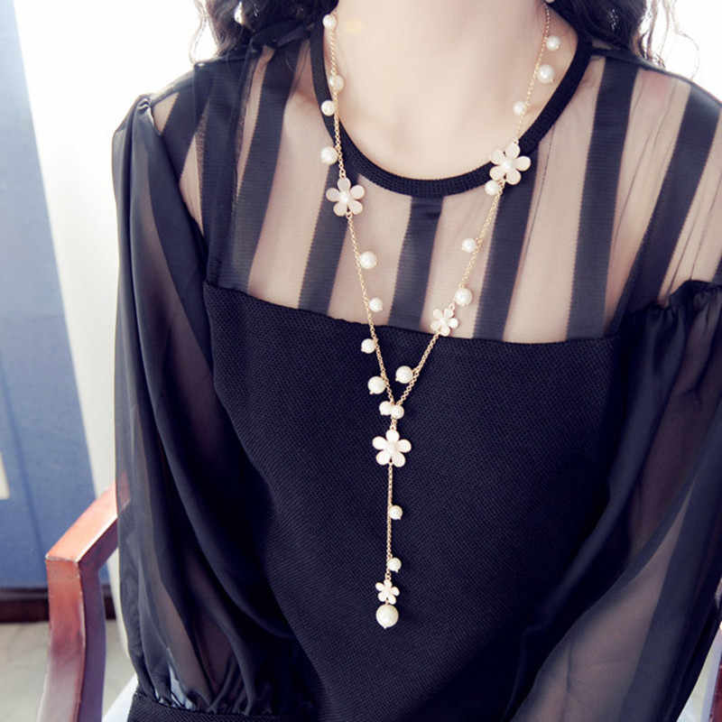 2019 new hot Romantic flower fringed sweater chain long Korean female long necklace accessories female sweater chain