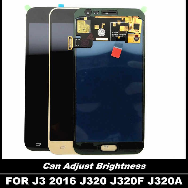 يمكن ضبط عرض السطوع لسامسونج غالاكسي J3 2016 J320 J320F J320P J320A LCD استبدال مجموعة المحولات الرقمية لشاشة تعمل بلمس