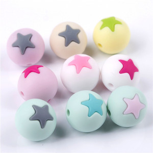 Image 3 - 50 шт Круглые Звездные силиконовые бусины 15 мм режущие шарики для зубов очищающий силиконовый Прорезыватель для зубов ожерелье украшение из бисера