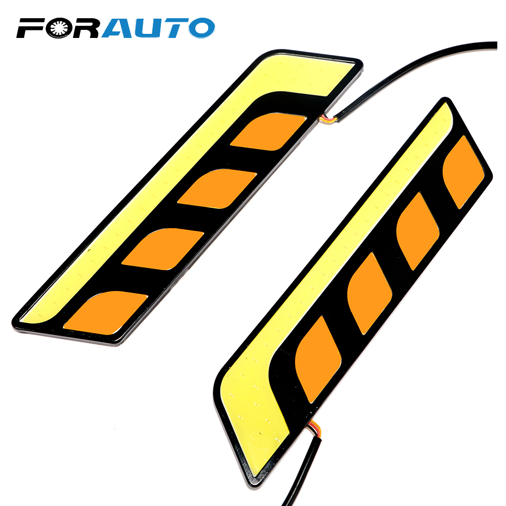 Rapture Forauto Daytime Running Lights Auto Day Light Car Drl Cob Led Headlight Bar Turn Signal Lights Fog Lamps 2pcs/set Car-styling Automobiles & Motorcycles
