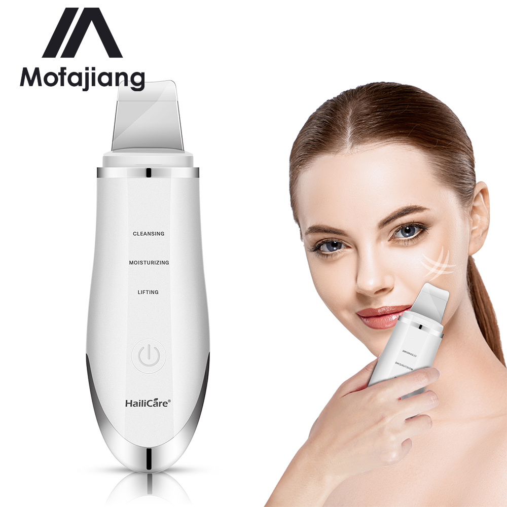 Professional Ultrasonic Facial Skin Scrubber Ion Deep Face Cleaning Peeling Rechargeable Skin Care Device Beauty Instrument J3