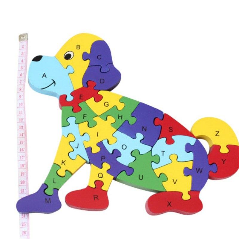 Модные деревянные головоломки заседание собак детская игрушка собраны строительные блоки буквенно-цифровой 3D головоломки собраны строите...