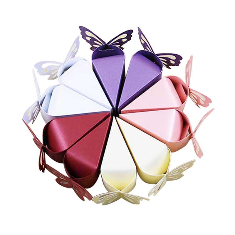 Dozzlor 1 шт. бабочка складной DIY коробка конфет Сладкий Box Baby Shower подарки пользу поле Свадебные украшения Оптовые много bulk
