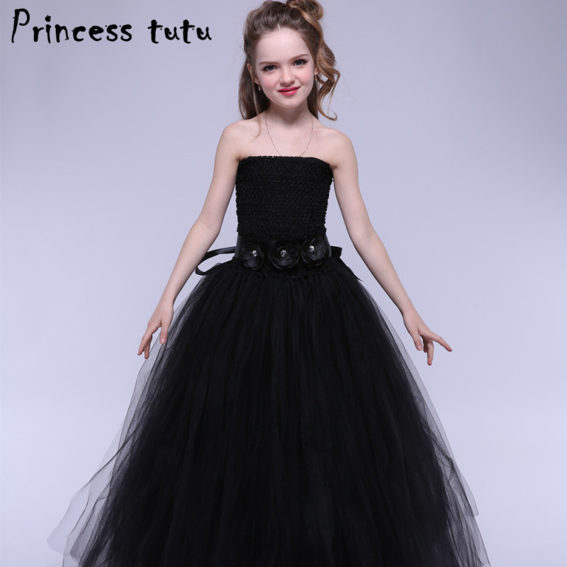 White Black Elegant Princess Tutu Girl Party Dress Puffy