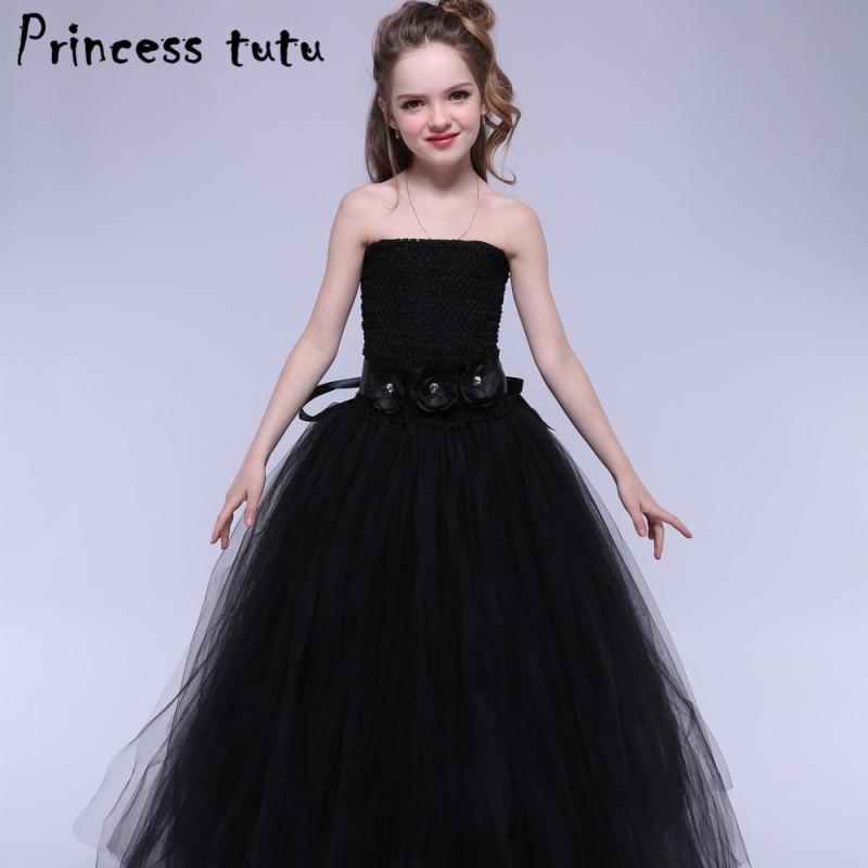 White Black Elegant Princess Tutu Girl Party Dress Puffy