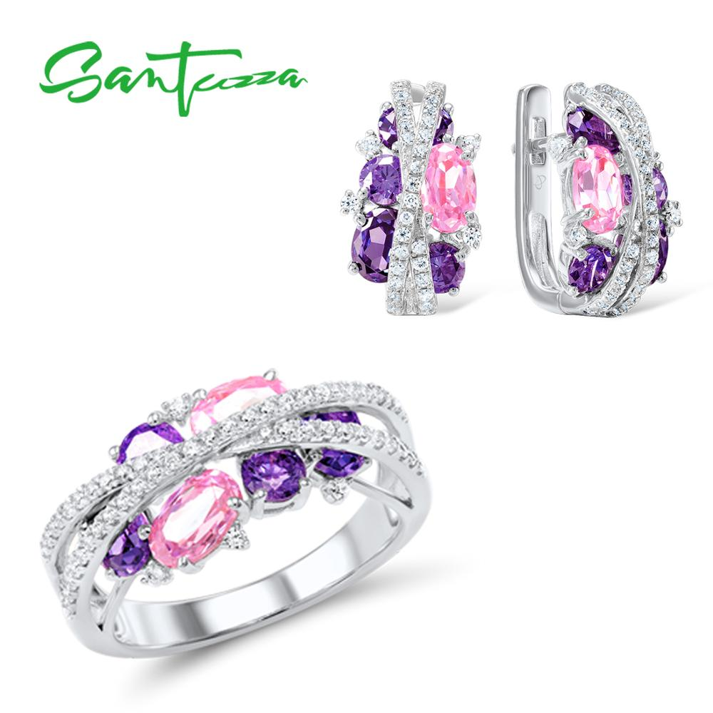 SANTUZZA 925 Silver Jewelry Set for Women Sparkling Purple Amethyst Pink Cubic Zirconia Earrings Ring Set Luxury Fine Jewelry