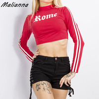 Rome Letter Print Stripe T Shirt 2017 Long Sleeve Sexy O Neck Activewear Crop Top Autumn