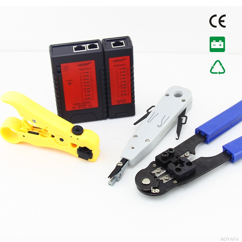 NOYAFA NF-1201 Line Finder Network tool kit Wire stripper & network cable tester & RJ45 Crimping tool & punch Down Tool best promotion steel telephone network line wire cable tester crimping crimper punch tool pliers top quality
