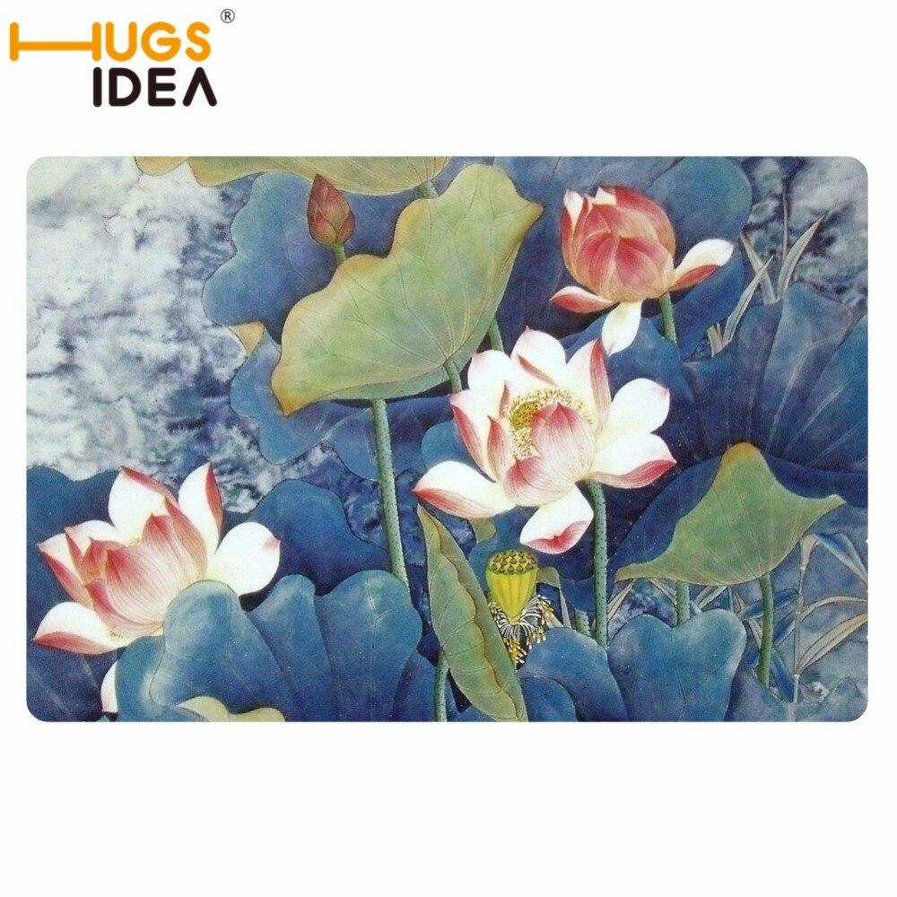 HUGSIDEA Лотос цветочный пейзаж напечатанный ковер для гостиной ковер для спальни кровать прямоугольный диван журнальный столик на заказ коврик