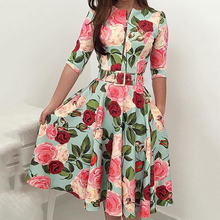 Women Evening Party Five-point sleeve Elegant Dress Female Clothes Bandage Bodycon Casual Floral Half Sleeve Zipper