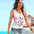 Sexy Women Blouses 2016 Blusas plus size white Letter Floral Printed Sleeveless Tops Crop Tank Vest Shirt summer blusa feminino
