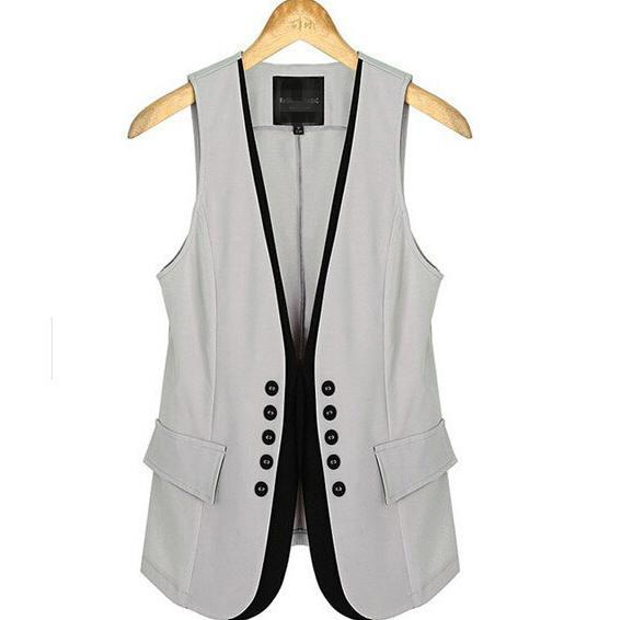 Double breasted suit waistcoat for women blazers sleeveless summer suit 2015 European style
