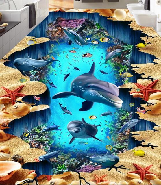 US $25.19 55% OFF|3d Bodenbelag Hohe Qualität delfin Tapeten Für  Kinderzimmer 3D Boden Selbstklebende Tapete in 3d Bodenbelag Hohe Qualität  delfin ...