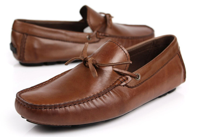 Men's Leather Loafers Moccasins Brown