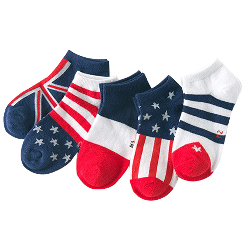 5 Pairs / Lot  2016 Spring New Flag Pattern Cotton  Children Socks 3 - 11 Years Children Socks Kids Boys / Girls Boat Socks
