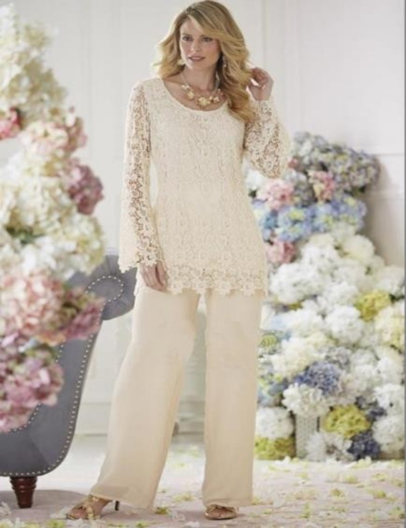Elegant wedding pant suits - 2016 Elegant Ivory Lace Chiffon Two Piece Mother Of The Bride Pant Suits Mothers Wedding Party