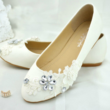 Handmade White Lace Crystal Flower Wedding Bridal Dress Shoes Woman Party Prom Shoes Lady Bridesmaid Shoes Evening Club Shoes