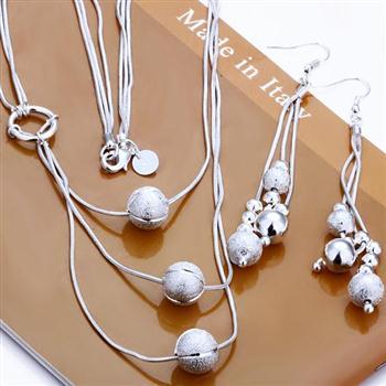 Бесплатная доставка Оптовая продажа Модные украшения комплект более трех-шарик 2 шт. комплект 925 стерлингового серебра Цепочки и ожерелья и ...