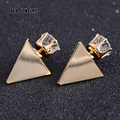 2017 New Cool Punk Triangle Earrings Jewelry Gold Black Plated Super Fashion Large Vintage Double Stud Earrings for Women Party