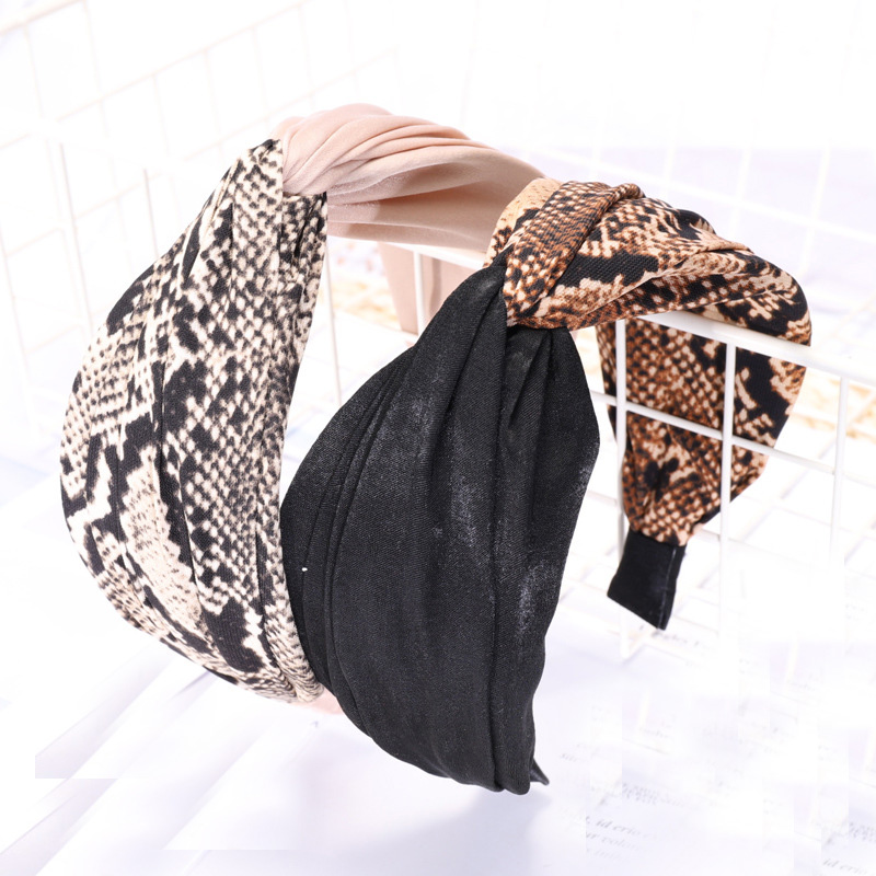 Vintage Bohemian Leopard Satin Knotted Cross Hairband Pattern Knot Headband customized Hair Accessories Headwear